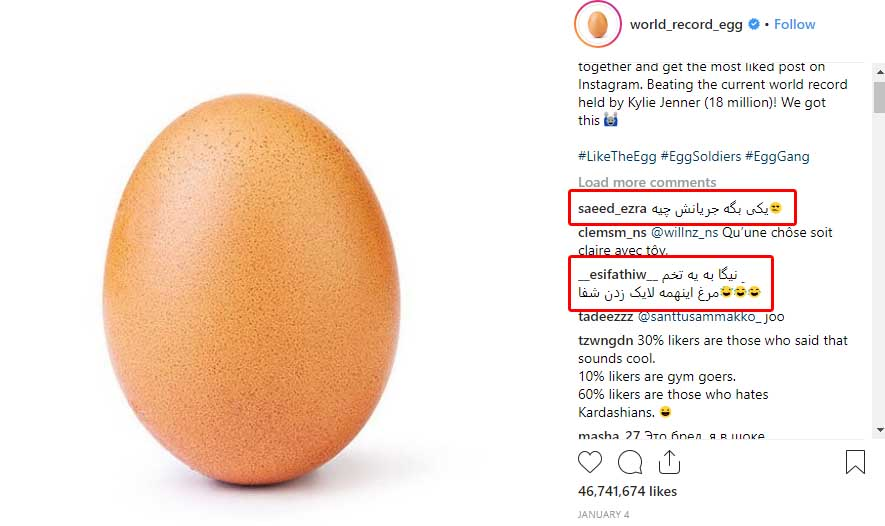 World Recod Egg in instagram